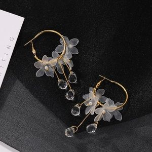 3/$30 - Gold Hoops w/Opaque Flowers & Crystals